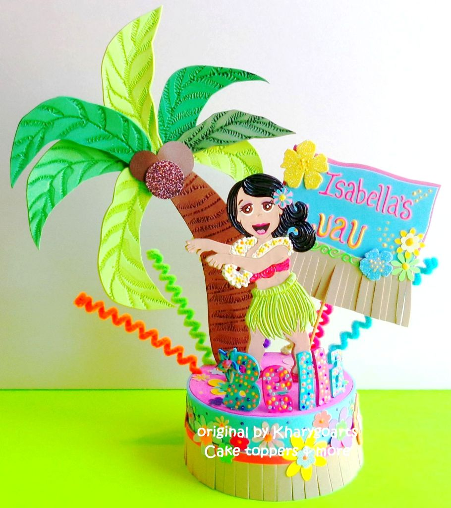 Hawaian Party Birthday Cake Topper